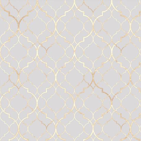 Imagem de Papel De parede clássico Marrocos Para Quartos E Sala Em Tons De Cinza E Gold