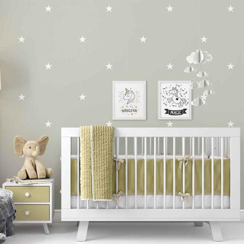 Imagem de Papel de Parede Estrelas Bebê 15mx60cm Adesivo Autocolante Lavável Cinza - Defacile