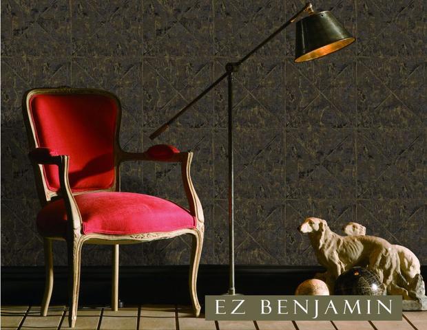 Imagem de Papel de Parede EZ Benjamin Geométrico Marrom Dourado GT1204
