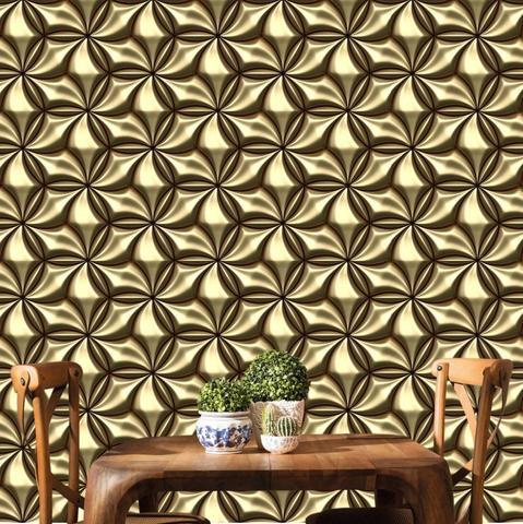 Imagem de Papel de Parede Geométrico 3D Elegance  com tons de Dourado e Marrom