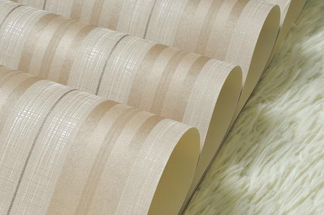 Imagem de Papel de parede importado lavável listrado marrom dourado