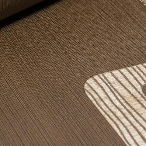 Imagem de Papel de Parede Importado Vinílico Geométrico Marrom com Dourado
