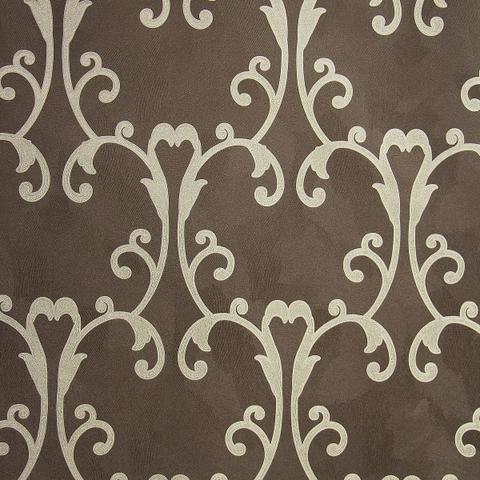 Imagem de Papel de parede importado vinílico lavável 53cm x 10m marrom escuro com detalhes dourado