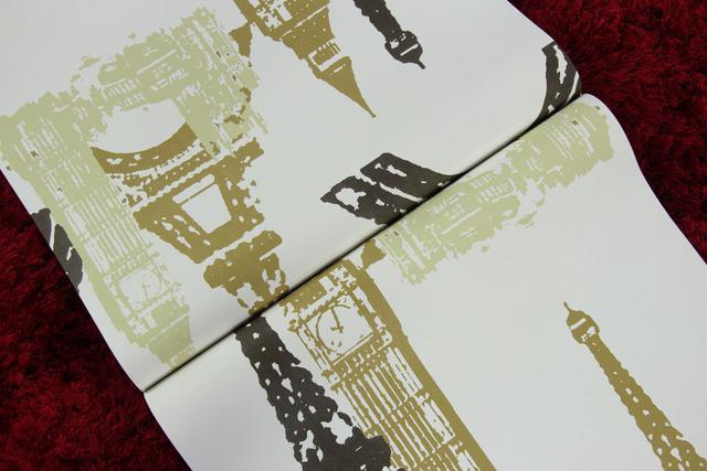 Imagem de Papel de parede importado vinílico lavável 53cm x 10m torre eiffel bege, dourado e marrom