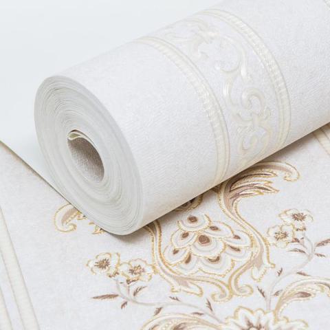 Imagem de Papel de Parede Importado Vinílico Lavável Listrado Off White com Marrom e Dourado