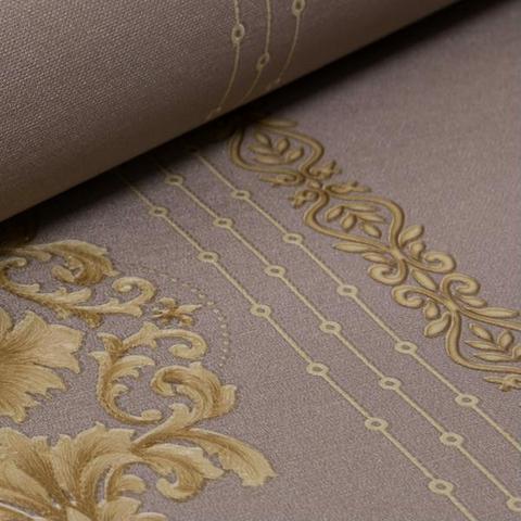 Imagem de Papel de Parede Importado Vinílico Listras Damask Marrom com Dourado