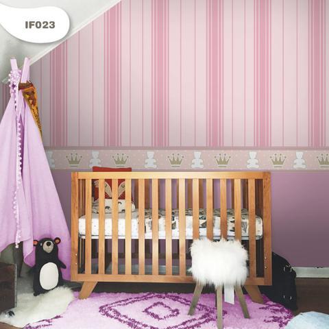 Imagem de Papel de Parede Quarto Bebê Infantil Ursinha Princesa