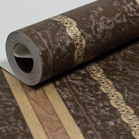 Imagem de Papel de Parede Vinílico Coleção Paris Listras Detalhes Marrom,  Dourado