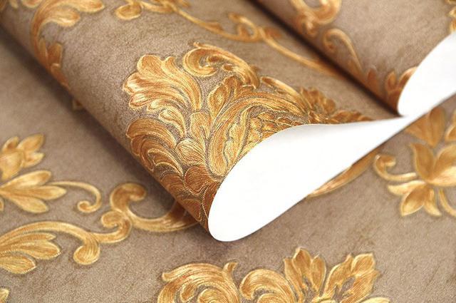 Imagem de Papel de parede vinílico importado textura arabesco - marrom / dourado