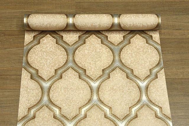 Imagem de Papel de parede vinílico importado textura designer moderno - marrom claro  dourado