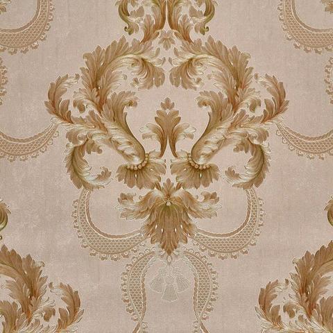 Imagem de Papel De Parede Vinílico Texturizado Bege Arabesco Dourado