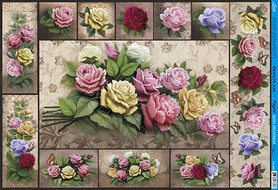 Imagem de Papel Decoupage PD-883 Rosas 34,3x49 - Litoarte