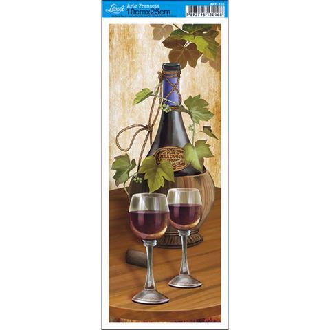 Imagem de Papel para Arte Francesa Litoarte 10 x 25 cm - Modelo AFP-116 Garrafa Vinho e Taças