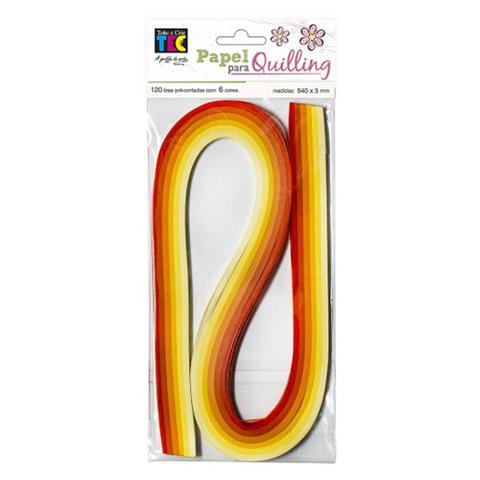 Imagem de Papel para Quilling com 120 Tiras 540x3mm Laranja e Amarelo PE038 - Toke e Crie