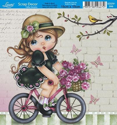 Imagem de Papel Scrap Decor Folha Simples 15x15 Menina na Bicicleta SDSXV-046 - Litoarte