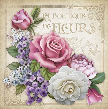 Imagem de Papel Scrap Decor Folha Simples 20x20 Flor La Boutique SDSXX-053 - Litoarte