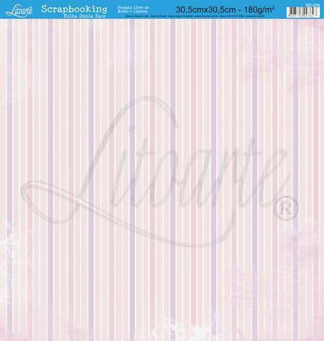 Imagem de Papel Scrapbook Litoarte 30,5x30,5 SD-054 Listras e Flores Rosa