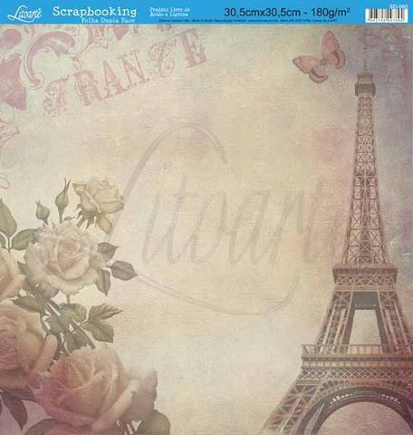 Imagem de Papel Scrapbook Litoarte 30,5x30,5 SD-060 Torre e Rosas France