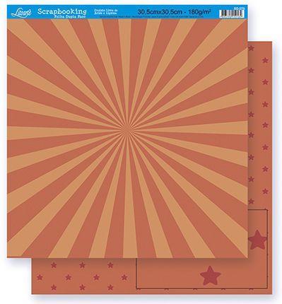 Imagem de Papel Scrapbook Litoarte 30,5x30,5 SD-267 Abstrato e Estrela Laranja