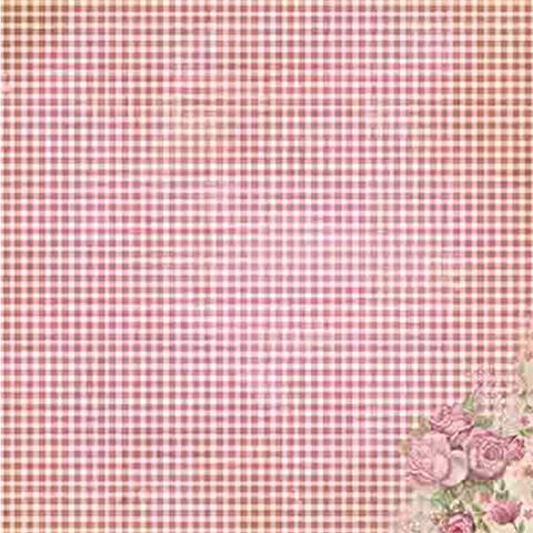Imagem de Papel Scrapbook Litoarte 30,5x30,5 SD-472 Rosas e Xadrez Vermelho