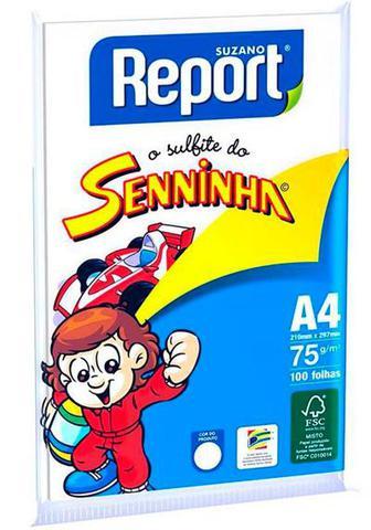 Imagem de Papel Sulfite A4 100 Folhas 210x297mm Gramatura 75 Branco Report Senninha