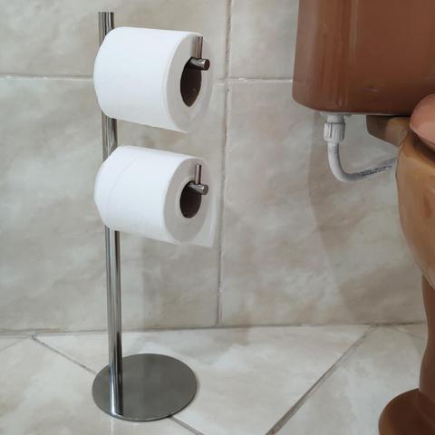 Imagem de Papeleira Suporte Porta Papel Higiênico De Chão Piso Em Aço Inox