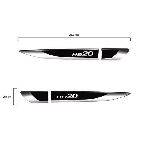 Imagem de Par Aplique Lateral Hyundai Hb20 2013 14 15 16 17 18 e 2019 Emblema Resinado