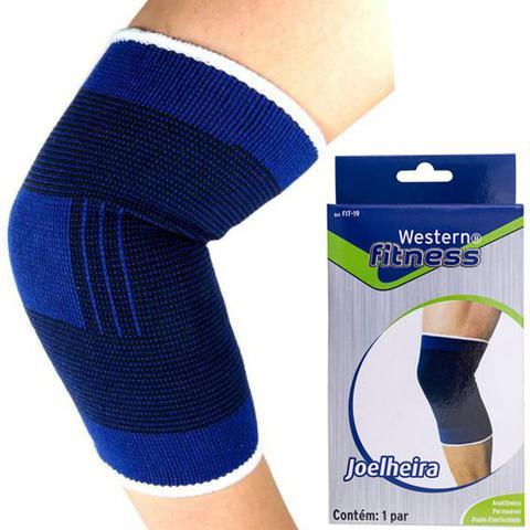 Imagem de Par de joelheira elástica protetor da articulação de joelhos e apoio muscular exercícios - Western