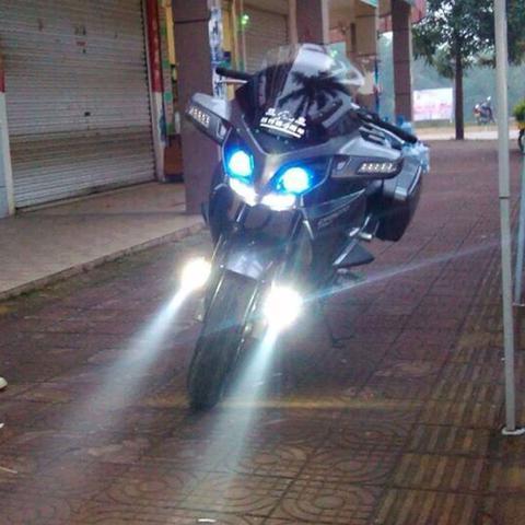 Imagem de Par Farol Milha Led Moto Universal Alumínio U7 Angel Eyes com botão KGT821 - Lorben