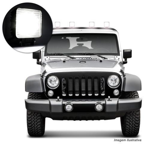 Imagem de Par Farol Milha Quadrado 9 LEDs 27W 12V Universal Carro Moto Jeep Off-Road Auxiliar Neblina