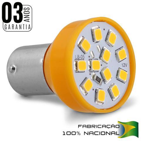 Imagem de Par Lâmpadas 12 LEDs 1 Polo Trava Reta 21W 12V Luz Laranja Aplicação Pisca Seta