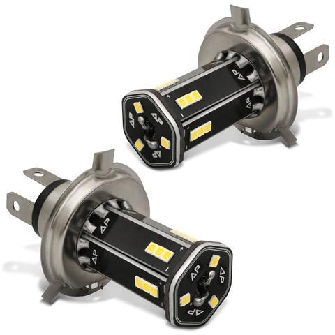 Imagem de Par Lâmpadas H4 21 LEDs 6500K 12V 24V Luz Branca Carro Moto e Caminhão Modelo Original Autopoli