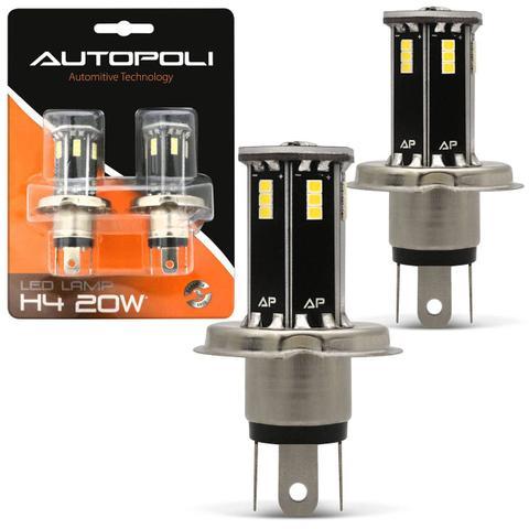 Imagem de Par Lâmpadas H4 21 LEDs 6500K 12V 24V Luz Branca Farol Baixo e Alto Carro Moto e Caminhão Autopoli