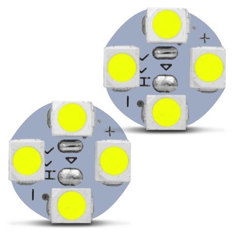 Imagem de Par Lâmpadas LED Pingo T10 4 LEDs 6000K 12V 2W Tonalidade Branco Frio Aplicação Farol Meia Luz