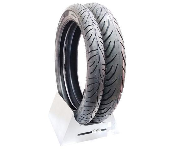Imagem de Par pneu cg dianteiro 2 75 18 traseiro 90 90 18 pirelli super city ybr max yes cbx aero gsr 0580