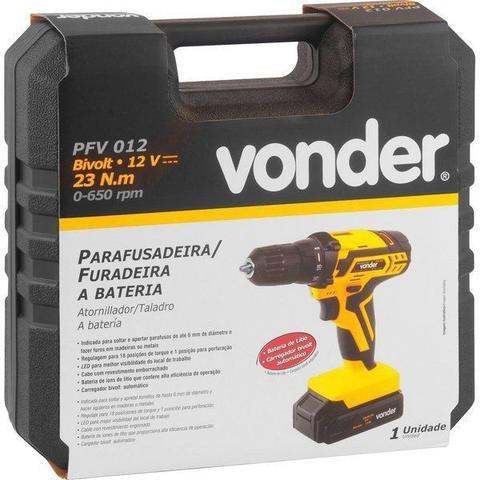 Imagem de Parafusadeira / Furadeira a Bateria 12V Bivolt Automático PFV 012 Vonder