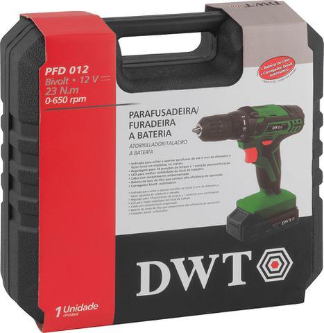 Imagem de Parafusadeira / Furadeira Bateria 12V + Carregador Bivolt + Maleta + Acessórios PFD 012 DWT