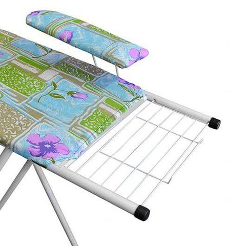 Imagem de Passadeira tabua mesa de passar roupas utilaço com passa mangas e tampo em aço perfurado