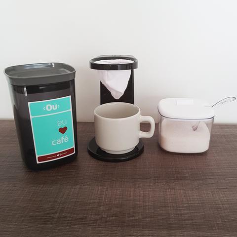 Imagem de Passador De Café Individual Mini Coador De Café De Pano 17cm Preto