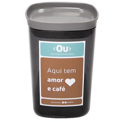 Imagem de Passador de Cafe My Coffee Preto - OU + Pote Hermetico 1 Litro Chumbo - OU + Refil de Coador com 2 Unidades Branco - OU
