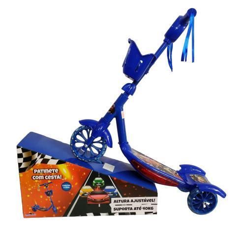 Imagem de Patinete Carros Azul Infantil Menino 3 Rodas Musical