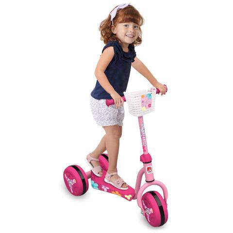 Imagem de Patinete Infantil 3 Rodas Gatinha Clássico Brinquedos Bandeirante Rosa