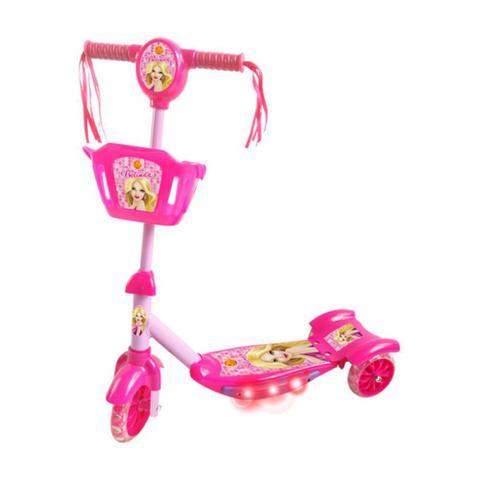 Imagem de Patinete Infantil 3 Rodas Gel Musical Cesta Luzes Feminino Menina Princesa Rosa  DM Toys