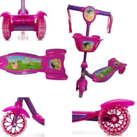 Imagem de Patinete Infantil Menina Princesa 3 Rodas Musical Luzes