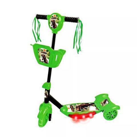 Imagem de Patinete infantil Meninos Verde ajustável com cesta Dinossauro com luzes e Som 35kg