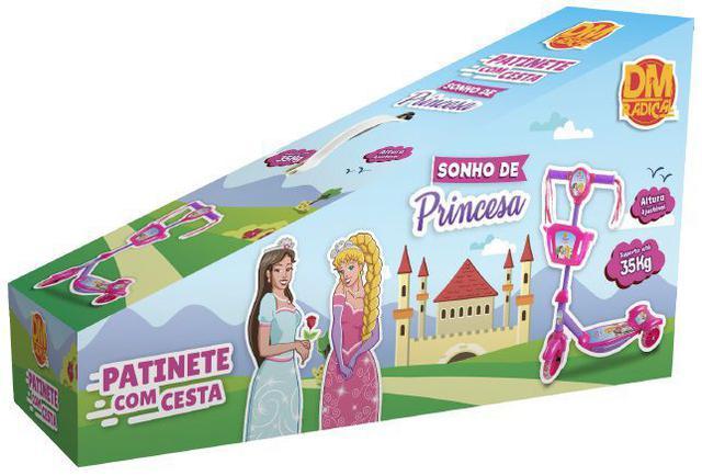 Imagem de Patinete Infantil Radical Com Luzes Som E Cestinha 3 Rodas