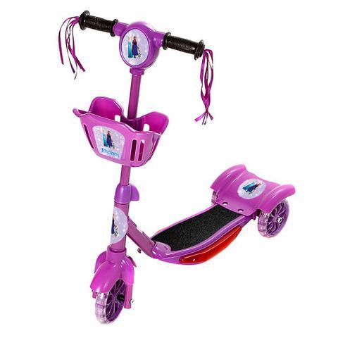 Imagem de Patinete Para Crianças Frozen Scooter 3 Rodas Brinquedo Infantil De Led E Som Menina Roxo Modelo Com Cestinha Art Brink