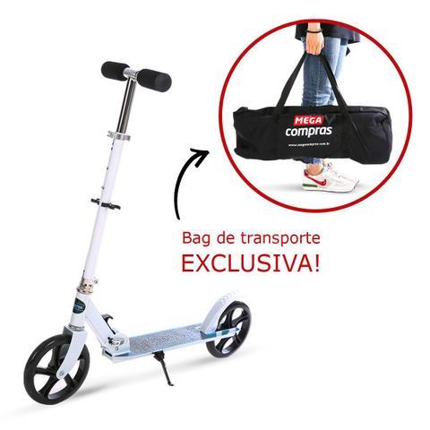 Imagem de Patinete scooter grande juvenil/adulto 2 rodas 200mm - branco