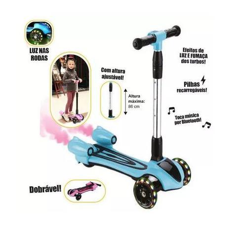 Imagem de Patinete Turbo Infantil com Led Fumaça Bluetooth Som Dobravel 3 Rodas Rosa
