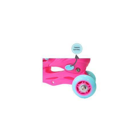Imagem de Patins 28/31 Rosa Infantil Menina C/ Kit Proteção Capacete